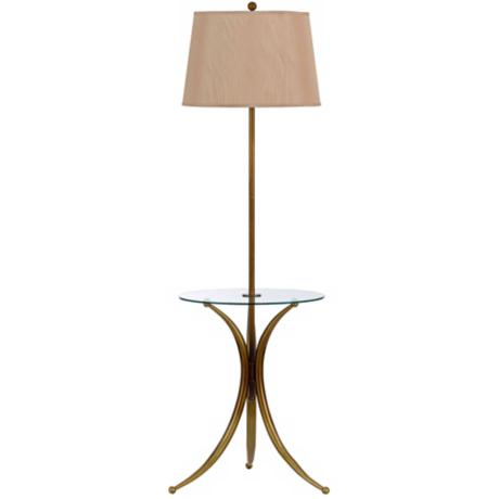 Trinity Autumn Gold Glass Tray Table Floor Lamp