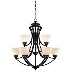 "Milbury Collection Dark Bronze 9-Light 30"" Wide Chandelier"