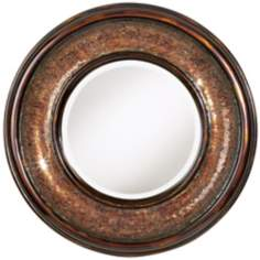 "Bronze Mosaic 36"" Wide Round Wall Mirror"