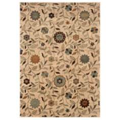 Durand Collection Meadow Ivory and Green Area Rug