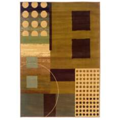 Durand Collection Spencer Green and Brown Area Rug