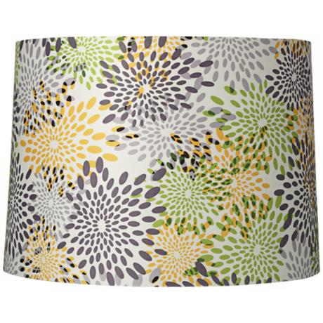 Multi-Color Abstract Flower Drum Shade 13x14x10 (Spider)