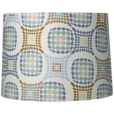 Blue and Brown Dot Pattern Drum Shade 13x14x10 (Spider)