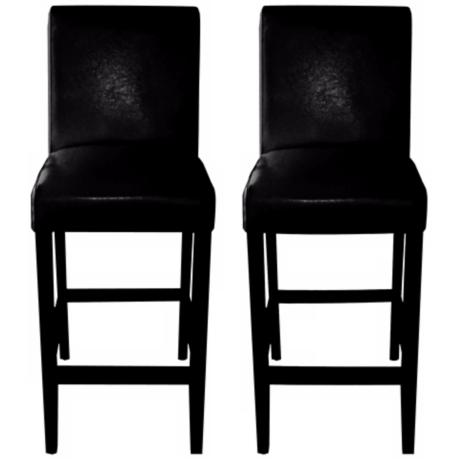 "Set of 2 Coco 30"" High Black Bicast Leather Bar Stool"