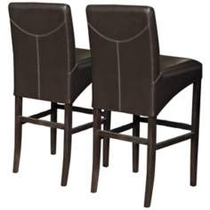 "Set of 2 Coco Brown 30"" High Bicast Leather Bar Stools"