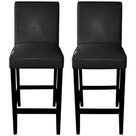 "Set of 2 Coco 26"" High Black Bicast Leather Counter Stools"