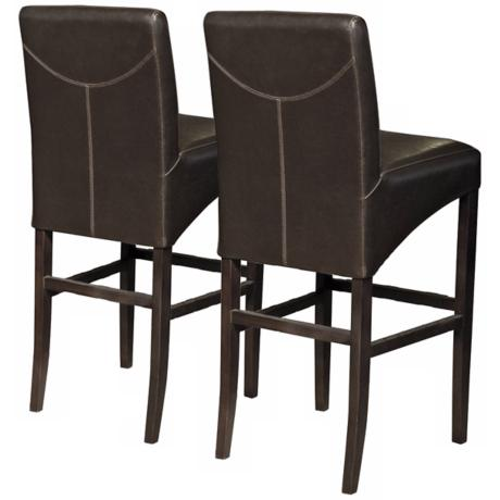"Set of 2 Coco Brown 26"" High Bicast Leather Counter Stools"
