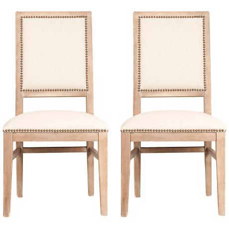 Set of 2 Dexter Stone Wash Acacia Wood Dining Chairs