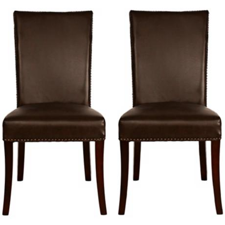 Set of 2 Soho Havana Bicast Leather Dining Chairs