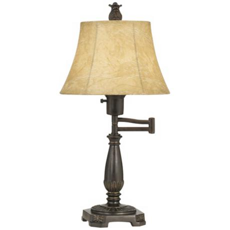 Bronze Finish Swing Arm Table Lamp