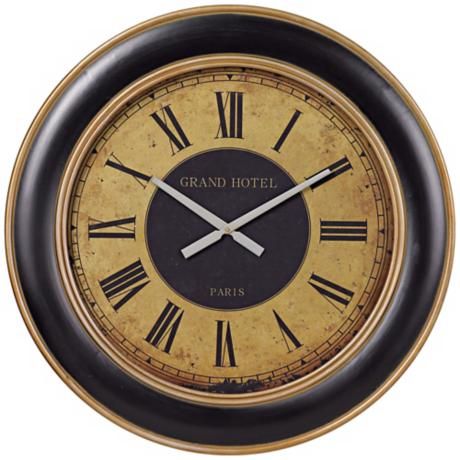 "Grand Hotel Paris 31 1/2"" Wide Wall Clock"