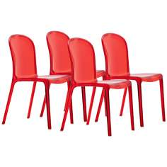 Set o f 4 Zuo Gumdrop Transparent Red Outdoor Dining Chairs
