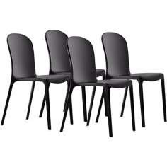 Set of 4 Zuo Gumdrop Black Outdoor Dining Chairs