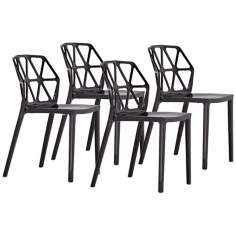 Set of 4 Zuo Juju Black Outdoor Dining Chairs