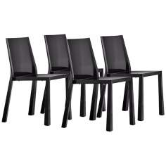 Set of 4 Zuo Popsicle Black Outdoor Dining Chairs