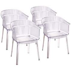 Set of 4 Zuo Allsorts Transparent Outdoor Dining Chairs