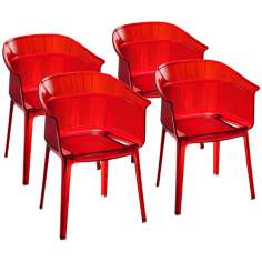 Set of 4 Zuo Allsorts Red Outdoor Dining Chairs