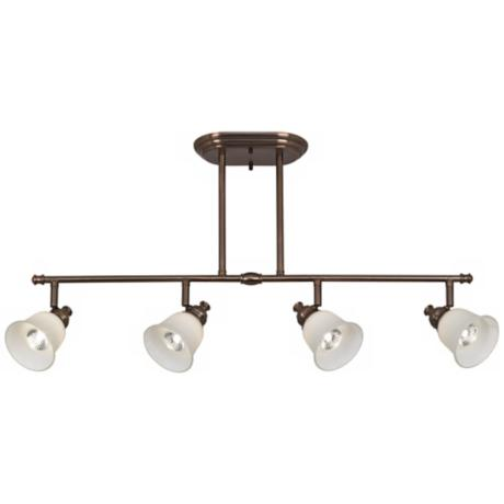 Bronze with White Glass Bell 4-Light Track Fixture