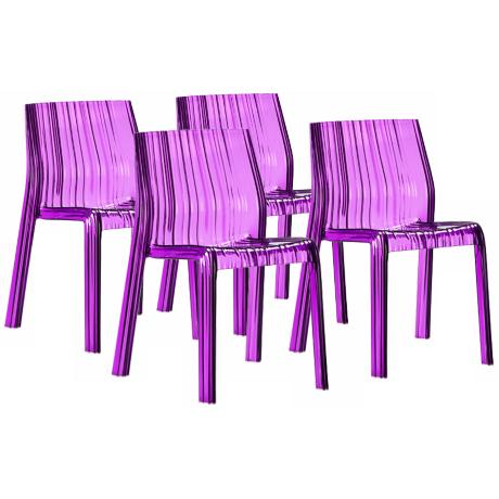 Set of 4 Zuo Purple Ruffle Outdoor Dining Chairs