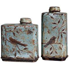 Set of 2 Uttermost Bird Freya Ceramic Containers