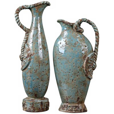 Set of 2 Uttermost Embossed Freya Vases