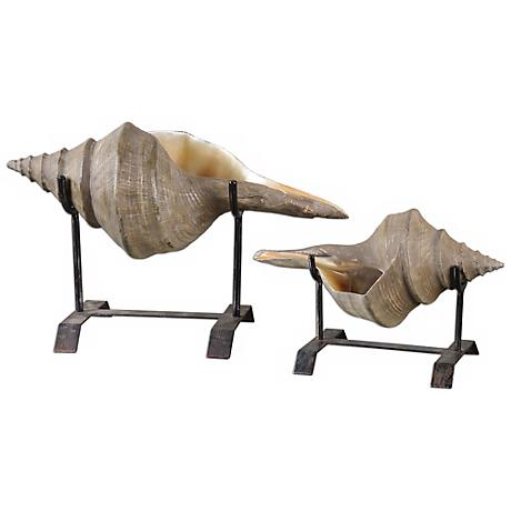 Uttermost Set of 2 Conch Shell Sculptures