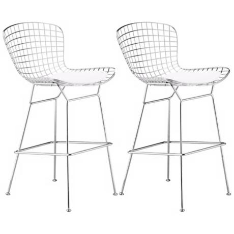 Set of 2 Zuo Wire Chrome Finish Bar Chairs- Frame only