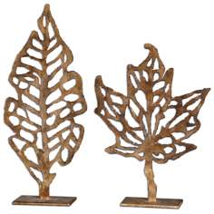 Uttermost Set of 2 Hazuki Leaf Sculptures