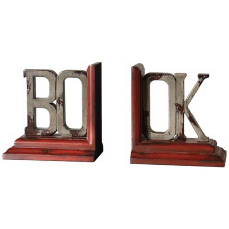 Set of 2 Uttermost BOOK Rustic Distressed Bookends