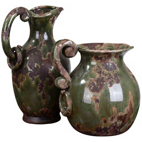 Uttermost Set of 2 Ceramic Hani Pitchers