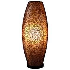 "Monroe Amber Stained Fiberglass 26"" High Table Lamp"