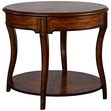 Uttermost Corianne Hand Rubbed Pecan Finish Oval Lamp Table