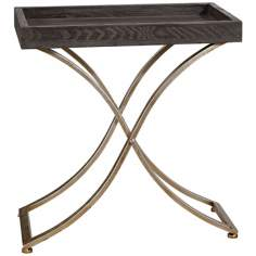 Uttermost Valli Ebony Stained Box Tray Accent Table