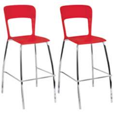Set of 2 Tone Red and Chrome Contemporary Bar Stools