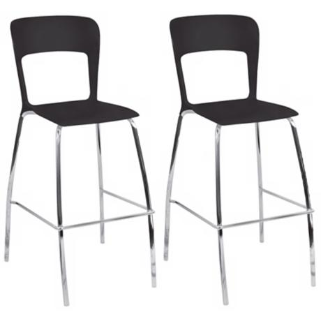 Set of 2 Tone Black and Chrome Contemporary Bar Stools
