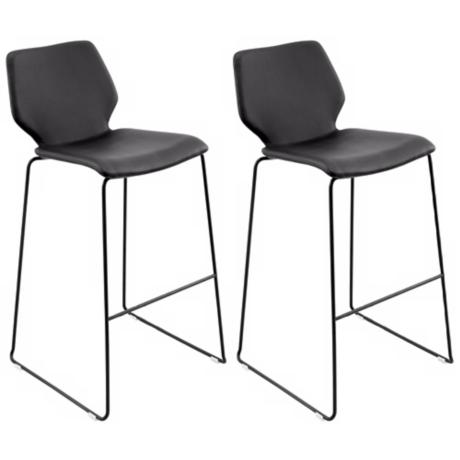 Set of 2 Black Leatherette Orson Bar Stools
