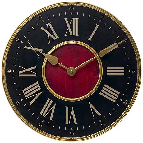 "Verona Antique Brass 15 3/4"" Round Wall Clock"