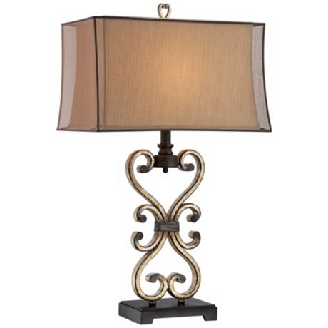 Possini Metal Scroll Double Box Shade Table Lamp