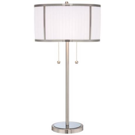 Brushed Steel with Pleated Shade 2-Light Table Lamp