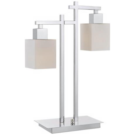 Chrome Finish Double Glass Shade Desk Lamp