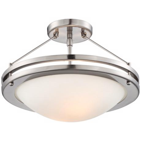 "Brushed Nickel Semi-Flush 13"" Wide Ceiling Fixture"