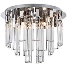 "Possini Euro Glass Dangle Chrome 15 3/4"" Wide Ceiling Light"