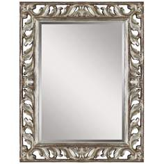 "Uttermost Vitaliano 49"" High Silver Leaf Wall Mirror"