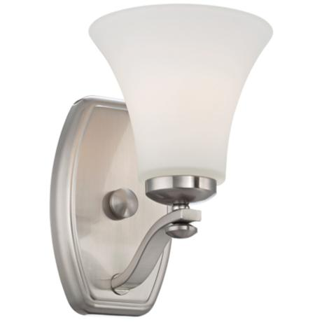 "Brushed Nickel and White Glass 9"" High Wall Sconce"