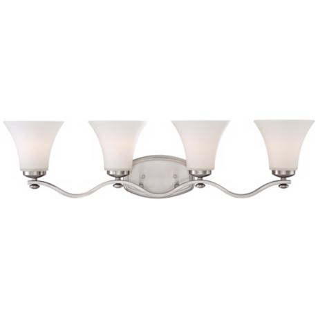 Brushed Nickel White Glass 4-Light Bath Fixture