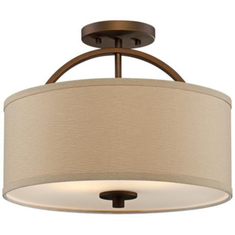 "Brushed Bronze Finish Semi-Flush 15"" Wide Ceiling Light"