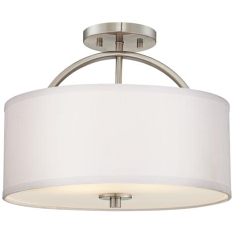 "Brushed Nickel Finish Semi-Flush 15"" Wide Ceiling Light"