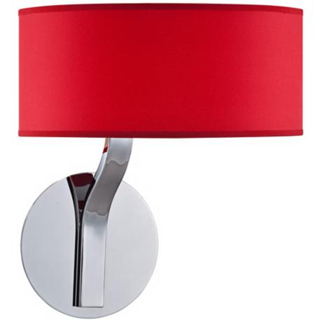 Possini Euro Red Drum Shade and Chrome Wall Sconce