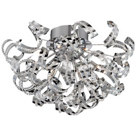 "Chrome Curls 20"" Wide Flushmount Ceiling Fixture"