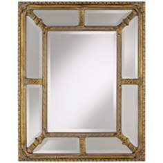 "Glass and Gold Border Small 35"" High Wall Mirror"